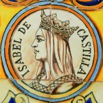 Tiles depicting Isabel de Castilla at the Plaza de España in Sevilla, Spain