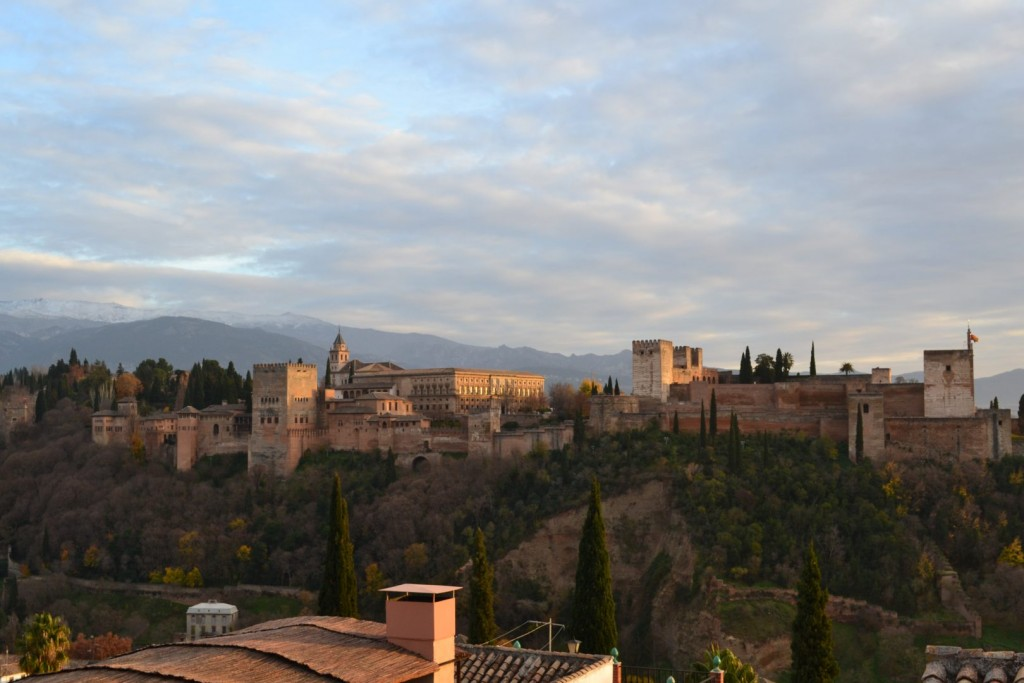 Alhambra from the Saint Nicholas viewpoint in Granada, Spain