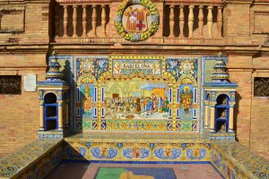 Beautiful tile work at the Plaza de España in Sevilla, Spain