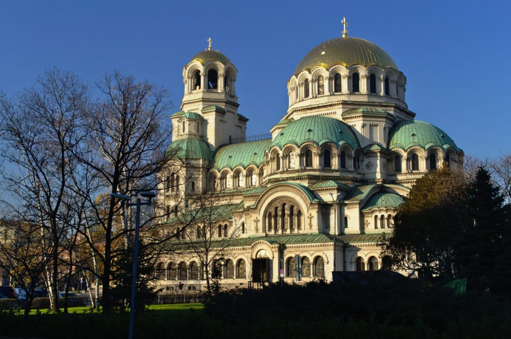 Sofia's Alexander Nevsky cathedral on a sunny afternoon