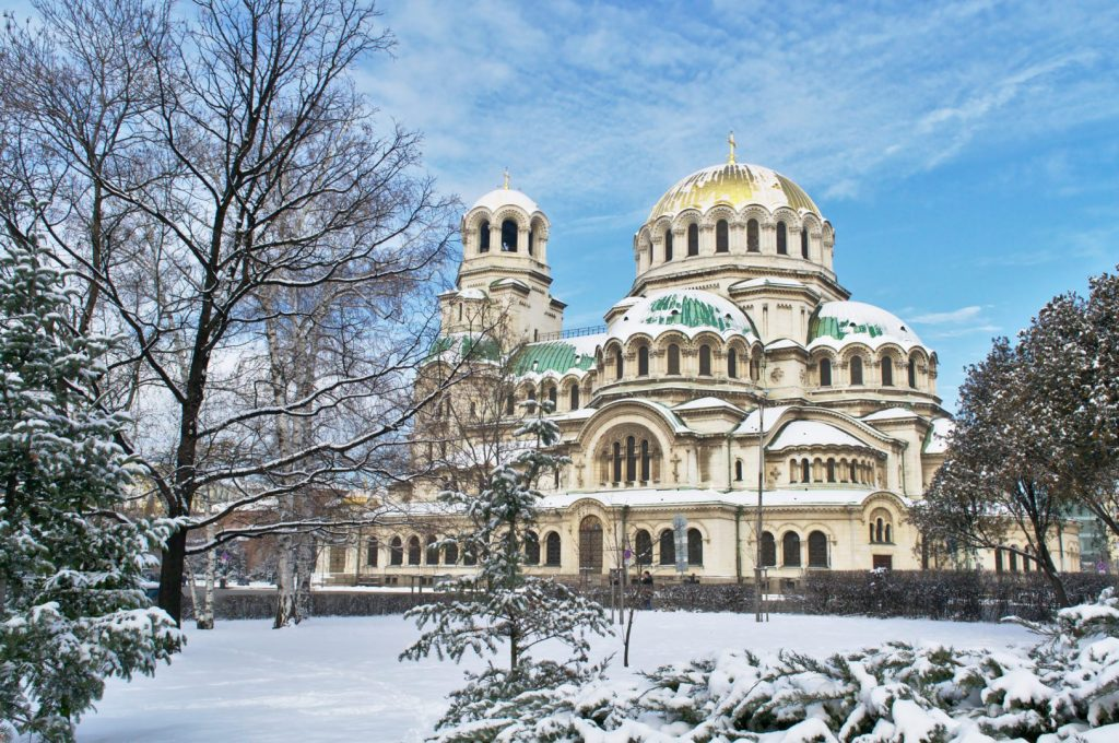 Sofia's Alexander Nevsky cathedral in the snow