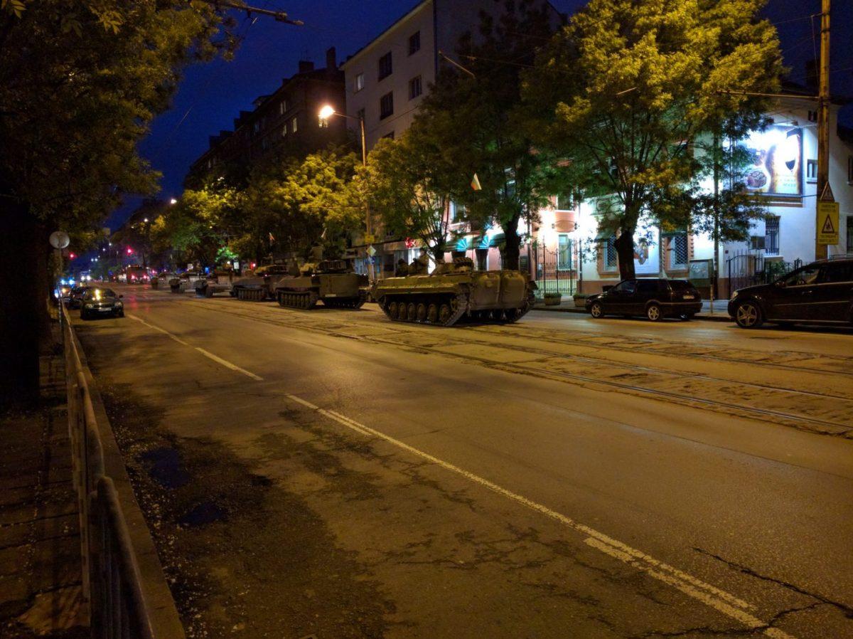 Military tanks rolling down Aleksandar Dondukov Boulevard in Sofia