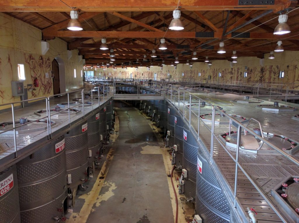 Fermentation vats at Katarzyna Estate